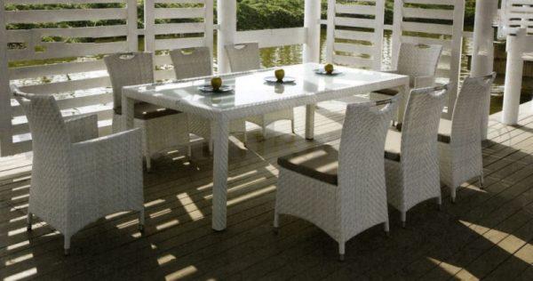 "Фото -Плетеная мебель ""Orient"" white 6 +2"