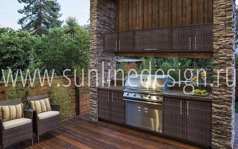Rotang-Kitchen model 5 - проект летней кухни веранды оборудованной мебелью из искусственного ротанга в цвете Snow Makassar!