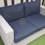 Фото - Белый диван из ротанга Louisiana white & blue 2-х местный