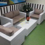 Фото - Комплект мебели из искусственного ротанга Louisiana lounge white beige