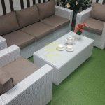 Фото Комплект мебели садовый из ротанга Louisiana white beige Sunlinedesign