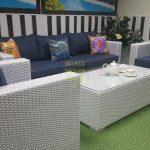 Фото - Лаунж мебель из искусственного ротанга Louisiana white&blue