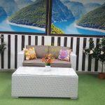 Фото -Louisiana hall set white&beige - садовая мебель из искусственного из ротанга.