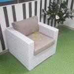 Фото - Louisiana кресло из ротанга white + beige Sunlinedesign