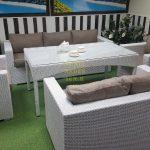 Фото-Мебель из искусственного ротанга Louisiana Dining Set white&beige