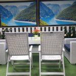 Фото-Обеденная плетеная мебель на террасу Dream white&blue
