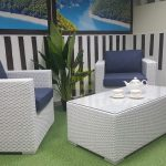 Фото - Плетеная мебель Louisiana white&blue cafe set