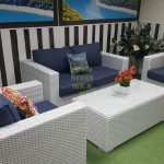 Фото - Плетеная мебель из ротанга Louisiana lounge white&blue