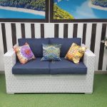 Фото - Плетеный диван Louisiana white & blue 2-х местный