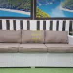 Фото -Плетеный диван из ротанга Louisiana white&beige
