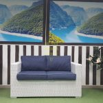 Фо то - Ротанг диван Louisiana white & blue 2-х местный