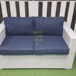 Фото - Ротанг искусственный диван Louisiana white & blue 2-х местный
