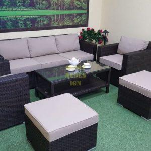 """Фото-Плетеная мебель """"Acoustic"""" set 3 - отличный комплект мебели на террасу. Вариант комплектации: Диван 215см. + Стол журнальный + Кресла 2шт. + Пуф 2шт.Производитель Sunlinedesign Outdoor Rattan Furniture."""