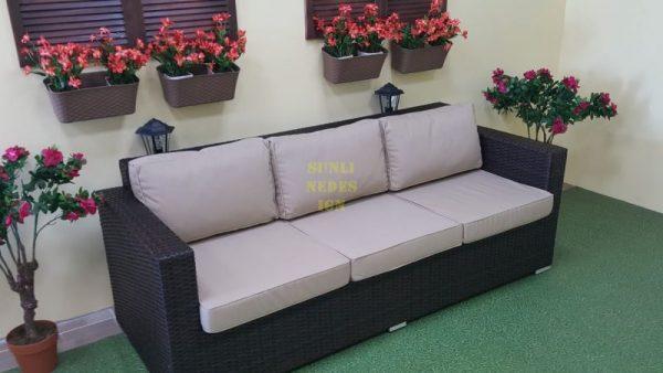 Фото-Плетеный диван Acoustic brown 3-х местный