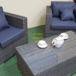 Фото-Комплект из ротанга Allegro natur&grey cafe set