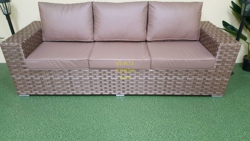 Cinzano beige диван из искусственного ротанга 3-х местный