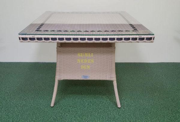 Фото-Aura beige 90 Стол из искусственного ротанга